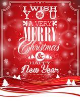 Vektor jul illustration med typografisk design på landskaps bakgrund