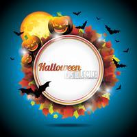 Vektor Halloween Party Bakgrund med Pumpor och Månen.