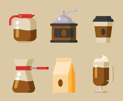 Kaffeelement Clipart Set vektor