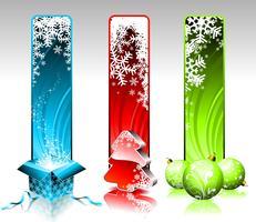 Vektor jul illustration med tre olika vertikala banderoller på vit bakgrund.