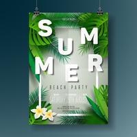 Vektor-Sommer-Strandfest-Flieger-Illustration mit typografischem Design auf Natur