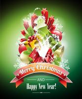 Vector Weihnachtsillustration mit magischen Geschenkboxen und glänzendem Feiertag