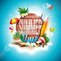 Vector typografische Illustration des Sommerzeit-Feiertags auf Weinleseholzhintergrund.