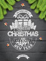 Vektor God jul helgdag och gott nytt år illustration med typografisk design och snöflingor på vintage trä bakgrund.
