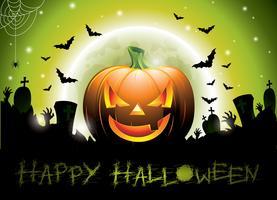 Vektor illustration på ett lyckligt halloween tema med pumpa.