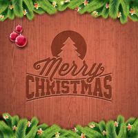 Vektor-frohe Weihnacht-Feiertags- und guten Rutsch ins Neue Jahr-Illustration