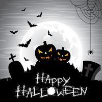 Vektor illustration på ett Halloween tema på en måne bakgrund.