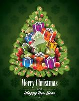 Vector Weihnachtsillustration mit magischen Baum- und Feiertagselementen