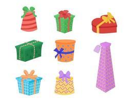 Geschenkboxen Vektor-Set. Sammlung von Geschenken isoliert. Geschenkbox in Form von Zylinder, Würfel, Herz, hoher Behälter. flacher Cartoon-Stil vektor