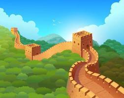 Chinesische Mauer in einer wunderschönen Naturlandschaft. Vektor-Illustration vektor