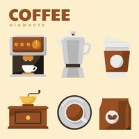 kaffe element vektor pack