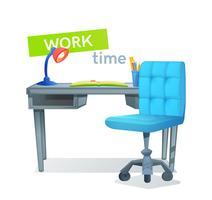 Arbetsplats med en dator skrivbord som är böcker och en lampa