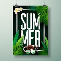 Vector typografische Illustration des Sommerzeit-Feiertags auf Palmblatthintergrund.