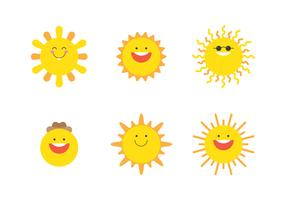 Sonne Emoji eingestellt vektor