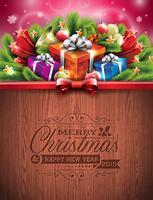 Gravierte typografische Gestaltung von Frohe Weihnachten und Happy New Year vektor