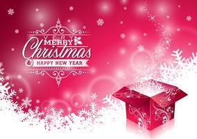 Vektor jul illustration med typografisk design och glänsande magisk presentförpackning