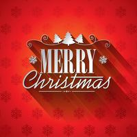 Vector Weihnachtsillustration mit typografischem Design auf Schneeflockenhintergrund.