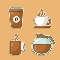 Kaffee-Elemente Clipart gesetzten Vektor