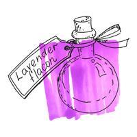 Flasche mit Lavendelessenz vektor
