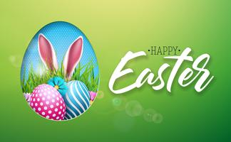Vector Illustration von glücklichem Ostern-Feiertag mit gemaltem Ei, den Kaninchenohren und der Blume auf glänzendem grünem Hintergrund. Internationaler Frühlingsfeier Design mit Typografie für Grußkarten, Party-Einladungen oder Promo-Banner.
