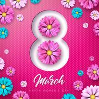 8. März Blumengrußkarte der glücklichen Frauen Tages. Internationale Feiertags-Illustration