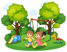 Två barn springar i parken vektor