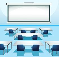 Klassrumsplats med skärmbräda och stolar