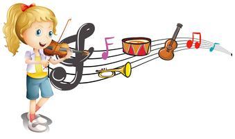 Mädchen, das Violine mit Musikanmerkungen im Hintergrund spielt