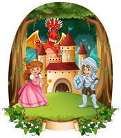 Fairytale scen med prins och prinsessa