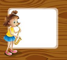 Eine leere abgerundete Vorlage mit einer Musikerin vektor