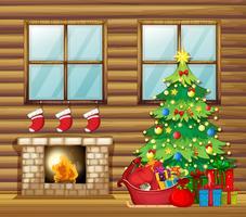 Weihnachtsdekoration im Holzhaus vektor