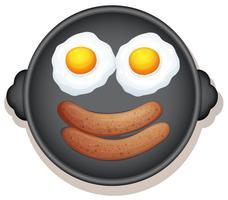 solig sida upp ägg och korv frukost vektor