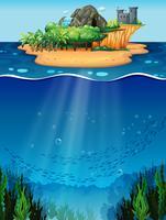 Unterwasser und Insel vektor