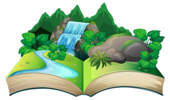 Öppna bok med naturlandskap