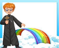 Rahmendesign mit Priester und Regenbogen vektor