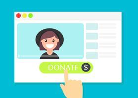 Das Browserfenster mit der Schaltfläche Spenden. Geld für Videoblogger. Flache Vektorillustration