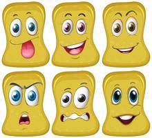 Sex olika ansikten på gul form