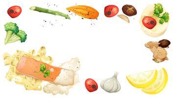 Lax och pasta element på vit bakgrund