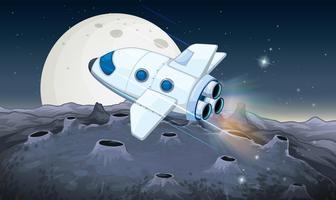 Rymdskepp som flyger över månen