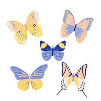 Gullig fjärilsamling till våren