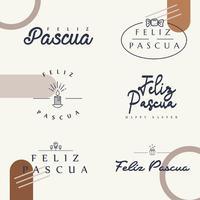 Feliz Pascua Typografie-Paket vektor
