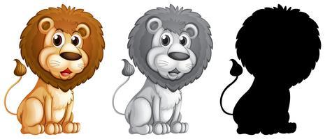 Sats av manlig lejon karaktär