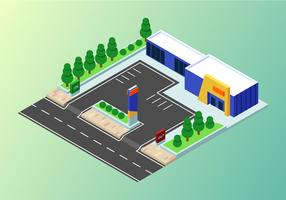 isometriska industribyggnader sätta vektor