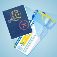 Ausländischer Pass Zwei Flugtickets. Abbildung eines Fluges in ein anderes Land. Reisebüro. Vektor flache Fahne