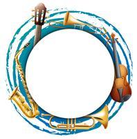 Runda ram med musikinstrument vektor