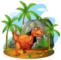 Dinosaur står framför en grotta