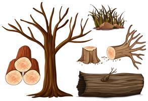 En uppsättning av trä