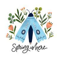 Netter blauer Schmetterling mit botanischen Blumen und Blättern herum vektor