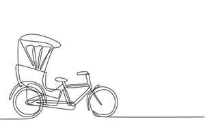 einzelne durchgehende Strichzeichnung Die Fahrradrikscha von der Seite gesehen zieht den dahinter sitzenden Passagier mit einem Fahrradpedal. touristisches Fahrzeug. eine Linie zeichnen Grafikdesign-Vektor-Illustration. vektor