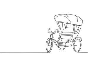 Einzelzeichnung einer Fahrradrikscha mit drei Rädern und einem hinteren Beifahrersitz ist ein altes Fahrzeug in mehreren asiatischen Ländern. moderne durchgehende Linie zeichnen Design-Grafik-Vektor-Illustration. vektor